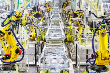 Evergrande production line in Tianjin with NEVS 9-3 electric car