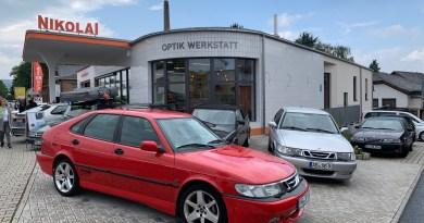 Saab em Kriftel em frente ao posto de gasolina Nikolai