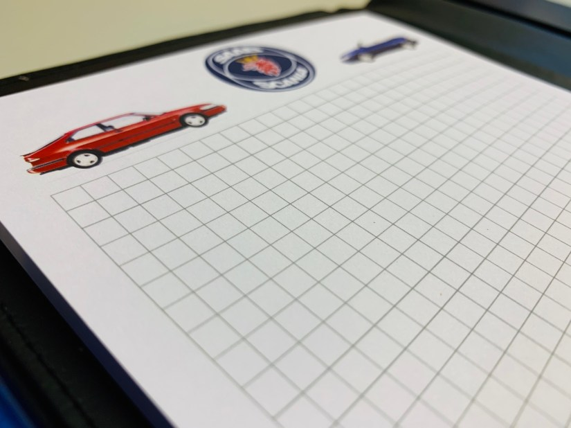 Saab-map en blog met Saab-Scania-logo