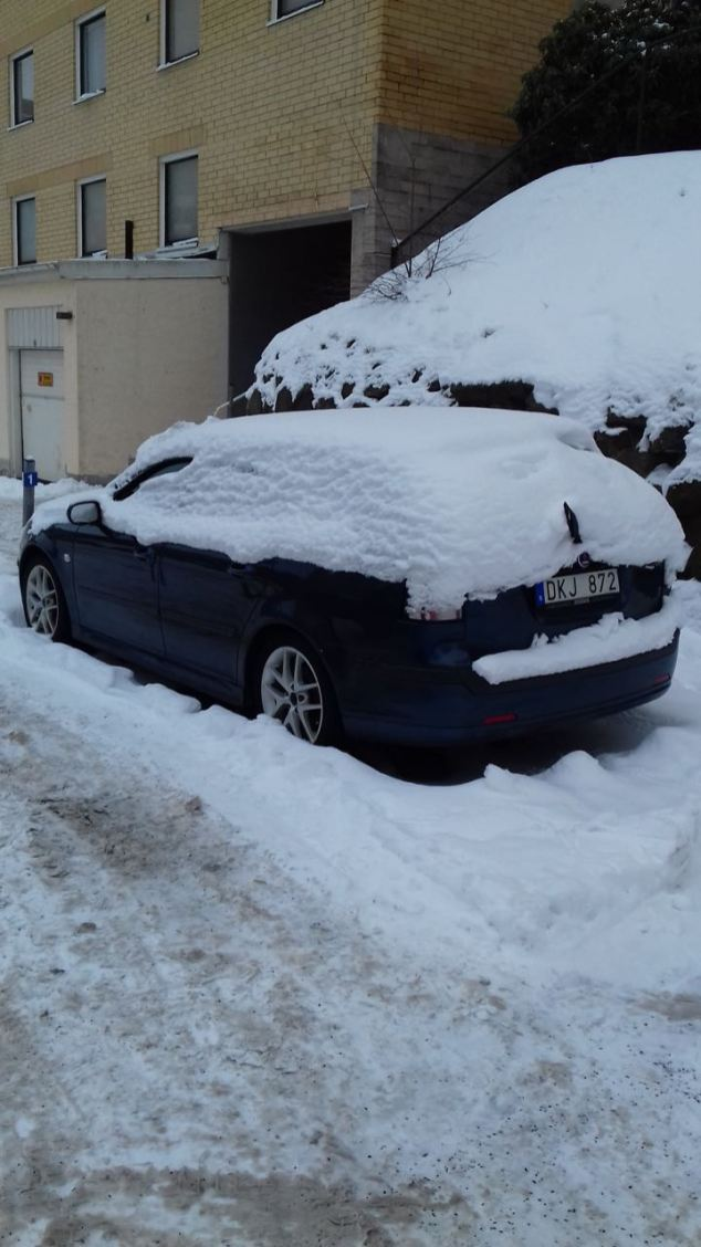 A snow-covered 9-3 from reader HP