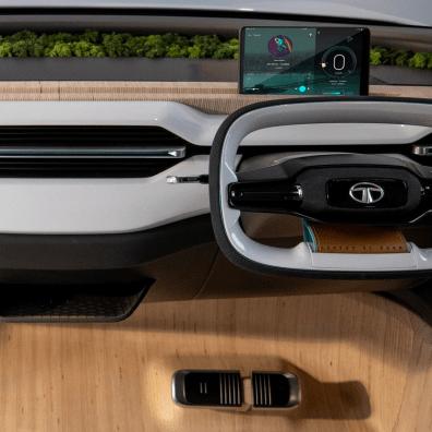 Tata Sierre Concept. Elektrisk SUV med mossor i interiören. Bild: Tata