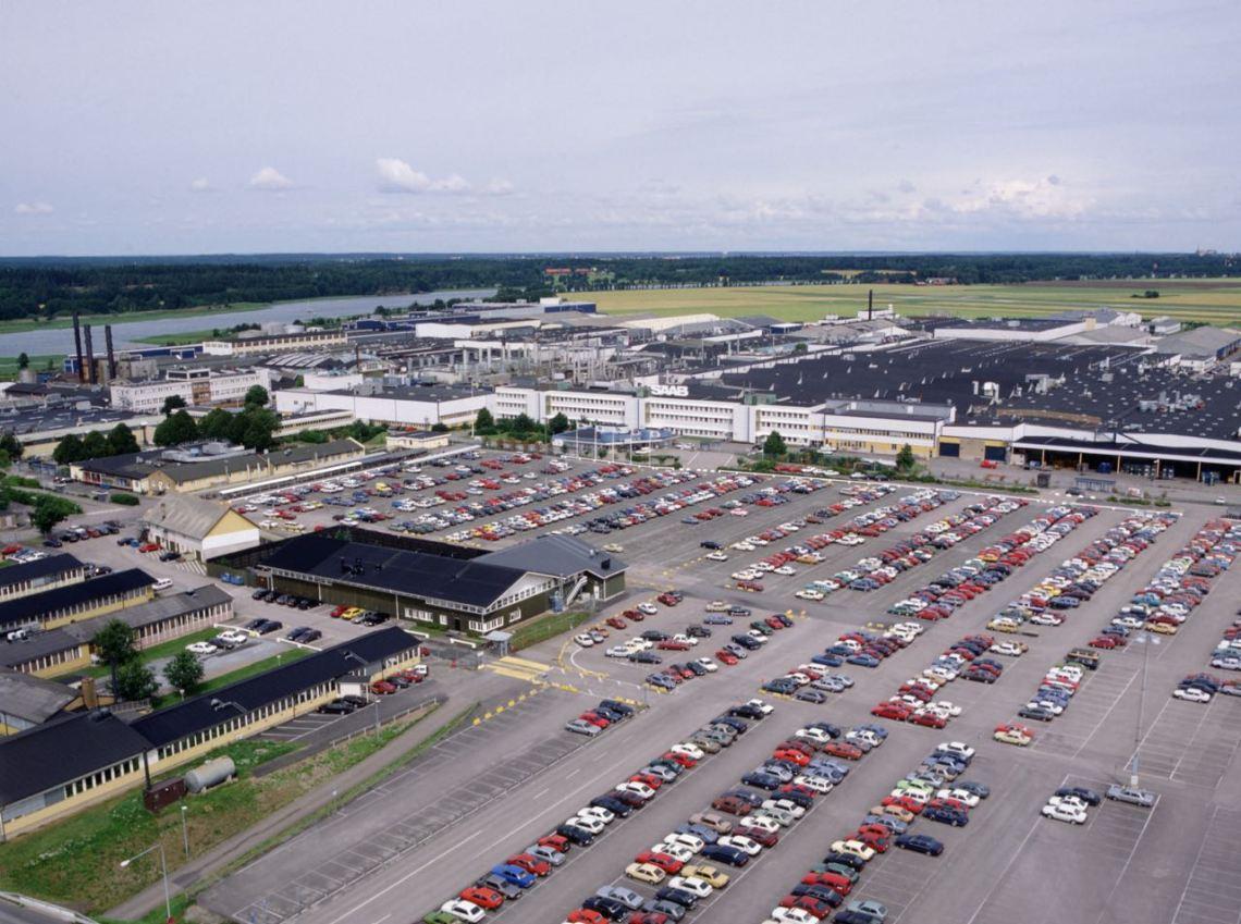 Saab-fabriek in Trollhättan in de jaren 80