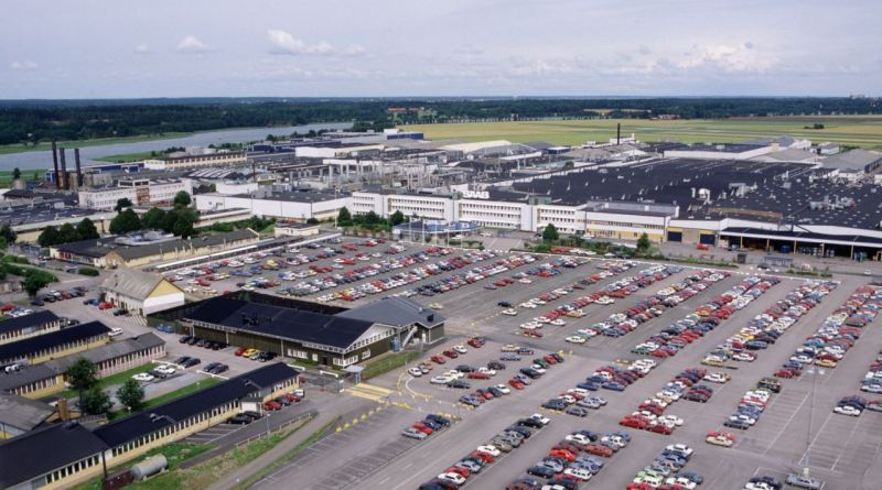 Fábrica da Saab em Trollhättan nos anos 80