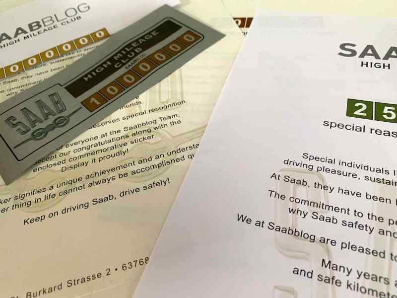 Klistermärken, certifikat, idéer. Saab High Mileage Club kommer.
