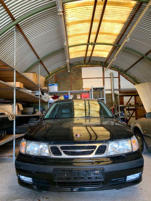 """The Saab """"sleeps"""" in the hangar"""