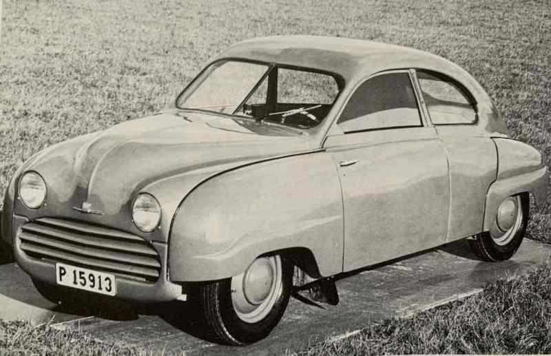 Foto antiga do Saab 92.004 na versão padrão