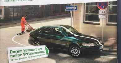 Die LVM Versicherung wirbt mit dem Saab 900 II