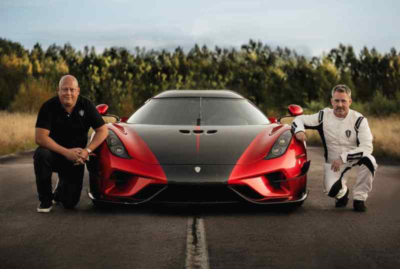 CvK and works test driver Sonny Person in front of the Regera