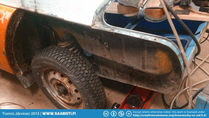 """One 1969 Saab 96 V4 """"Rally"""" in well used condition."""