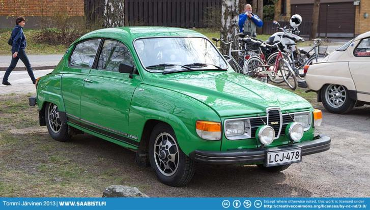 Very nice green rubber bumper Saab 96 V4.