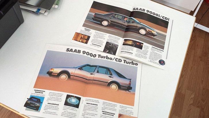 Vaihda Saabiin - Saab 9000 valintaopas 1990. A4 12s. 5 €.
