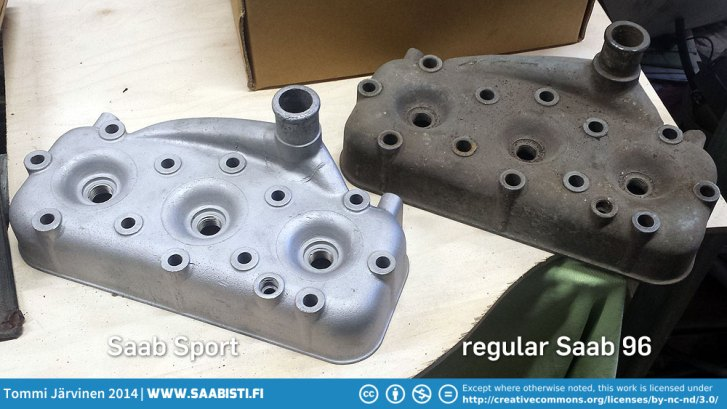 Here's Saab Sport head (left) and a regular 96 head (right). From the top there's not a whole lot different other than the Sport head having smaller bolt holes.