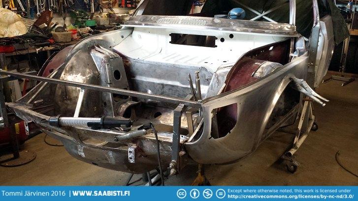 Fender in welding jig.