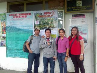 From L-R: Provincial Project Coordinator Jun Sayago, IT Officer Marlon Natividad, Kiamba Area Coordinator Engr. Rio Sandigan, Malungon Area Coordinator Melissa Dajay (Source: IT Officer Christina Pastrana)