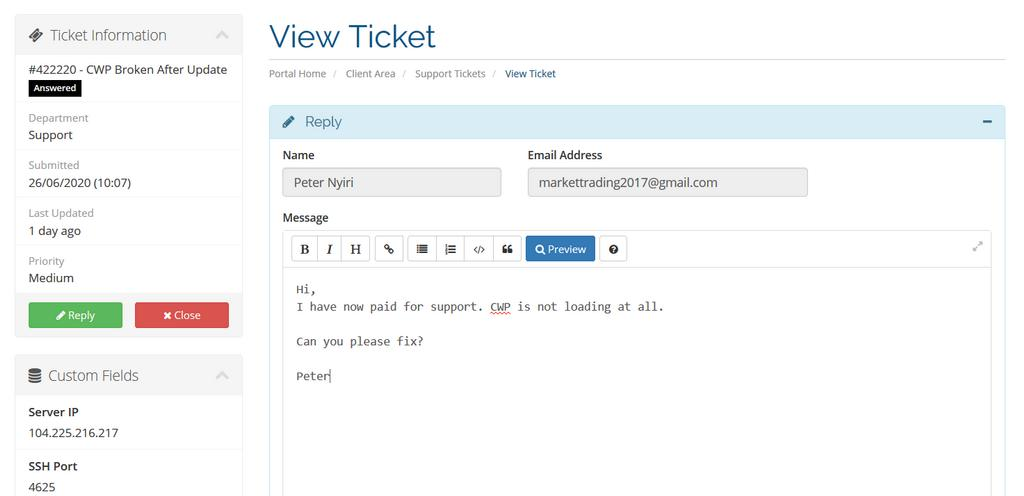 cwp 1-time support ticket