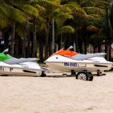 Speed boats parked at My Khe beach