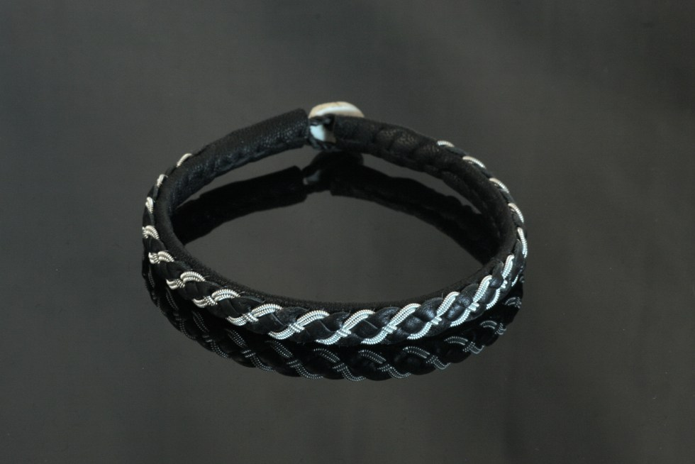 Four Braid Leather Strip Bracelet