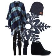 plaid cape in winter