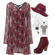 floral swing dress in maroon