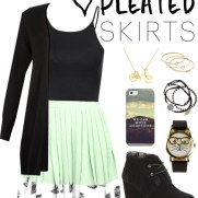 pleated skirt - mint green typewriter