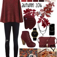 high-low sweater and beanie in maroon