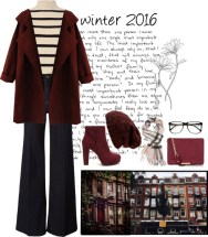 knitted coat and high neck sweater