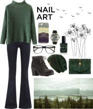 green with envy: winter nail polish - foggy green grunge
