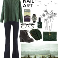 green with envy: winter nail polish - foggy green grunge