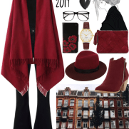 maroon cape and fedora