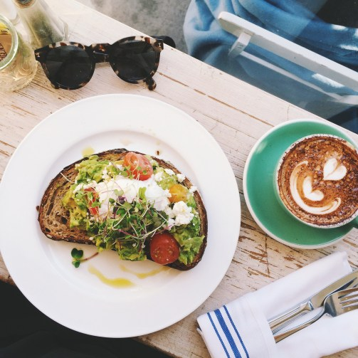 Bluestone Lane Coffee - Avocado Bread w/ poached egg