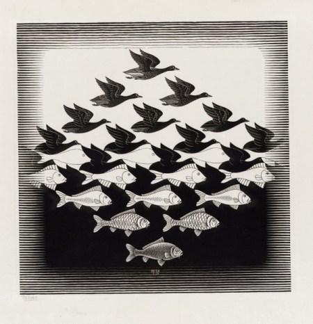 """Escher """"birds fish"""""""