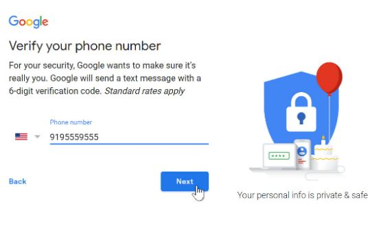 verify your gmail account via mobile phone number