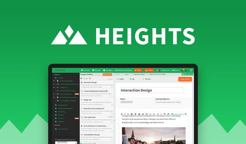 Heights Platform is a customizable, all-in-one online course platform that helps you create, manage, and sell your own learning program