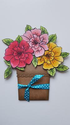 Tutoriel scrapbooking : Carte Pot de Fleurs
