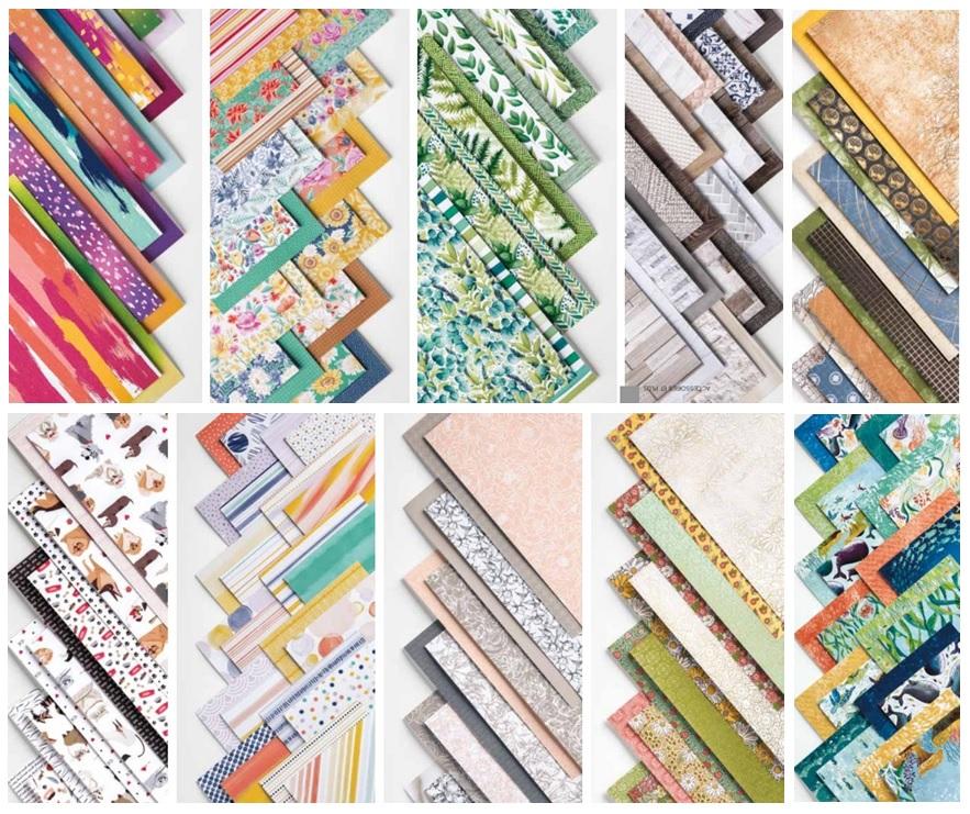 Tableau des couleurs utilisées dans les collections de papiers Stampin'up