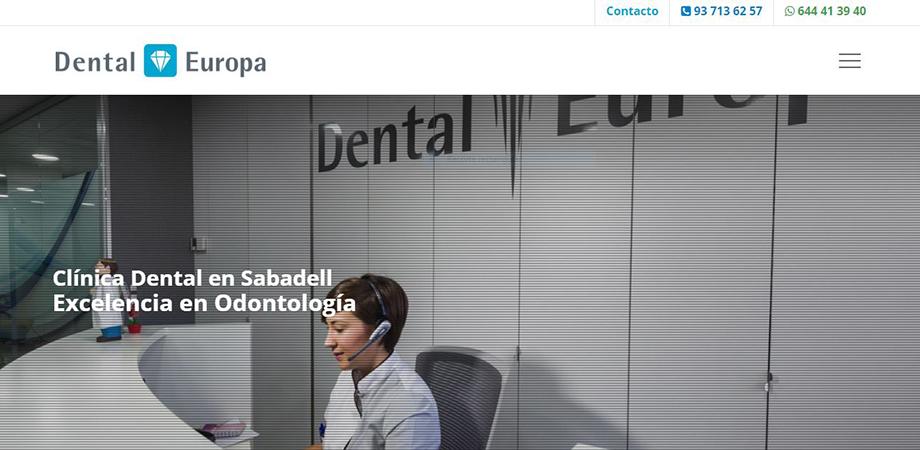 Pantallazo página web Clínica Dental Europa