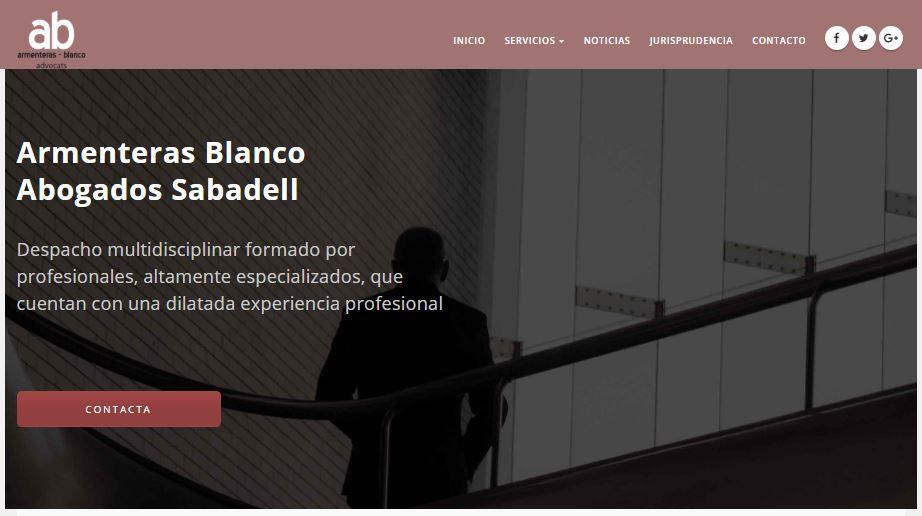 Pantallazo página web de Armenteras Blanco Abogados