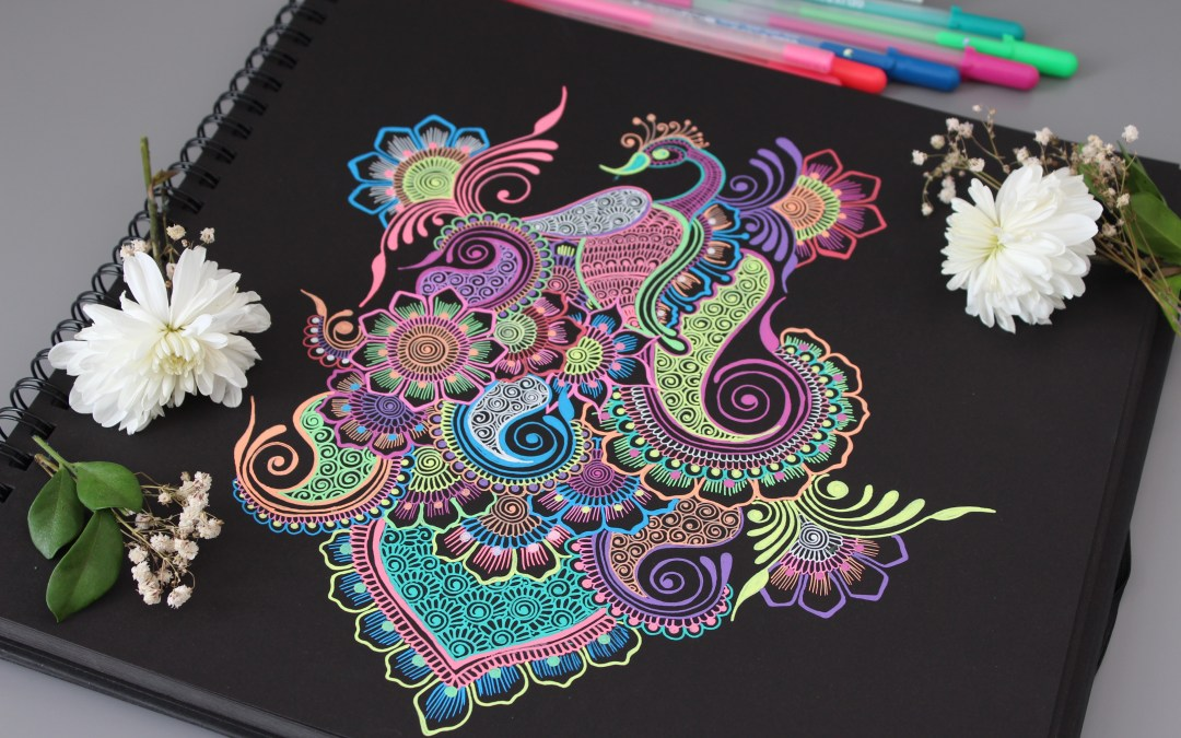 Penny the Peacock Drawing Using Moonlight Gelly Roll Pens