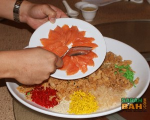Delicious Salmon Yee Sang at The Chinese Restaurant at Hyatt Kinabalu Regency