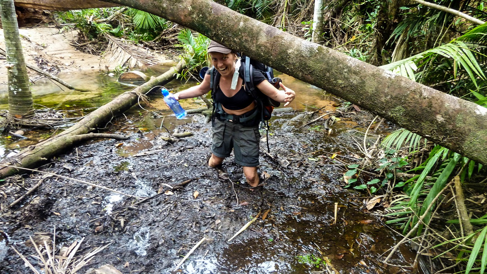 a photo of a hiker stuck in mud on the thorsborne trail.
