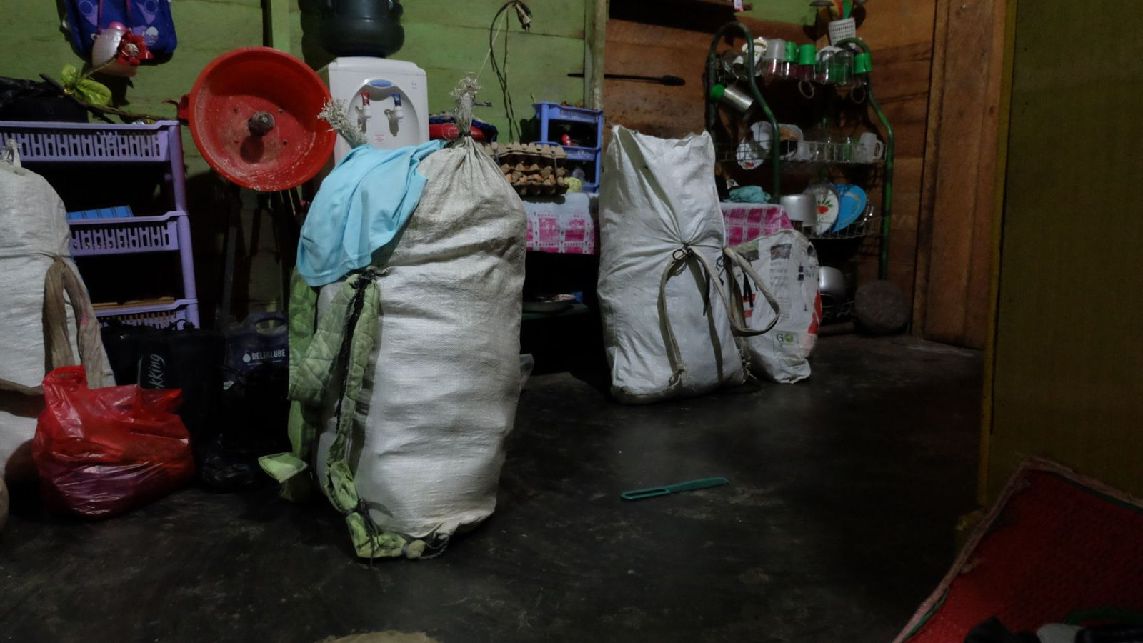 a photo of the rice bags filled with supplies for the hike in gunung leuser national park.