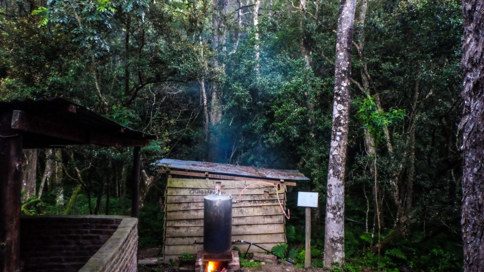 a photo of the donkey/shower at the third hut on the amathole hiking trail.