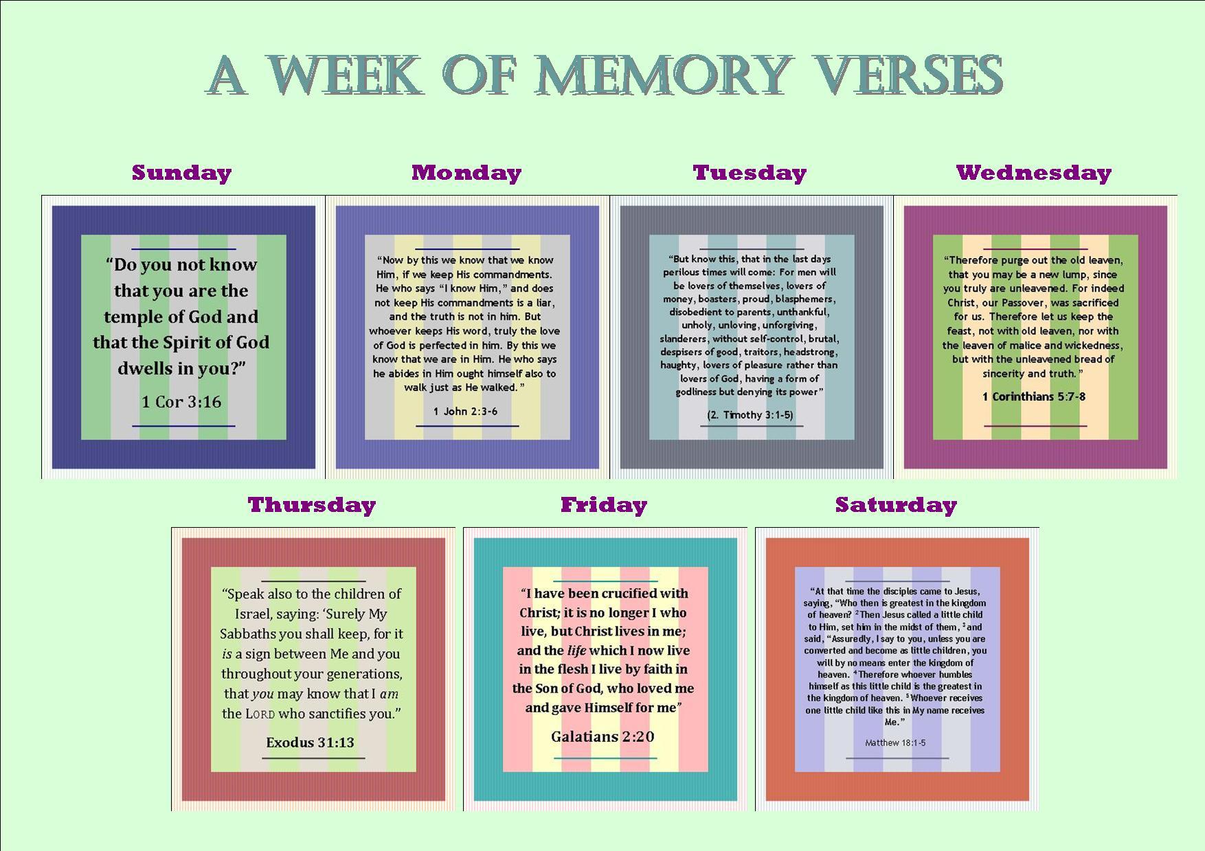 A Week Of Memory Verses Week 1