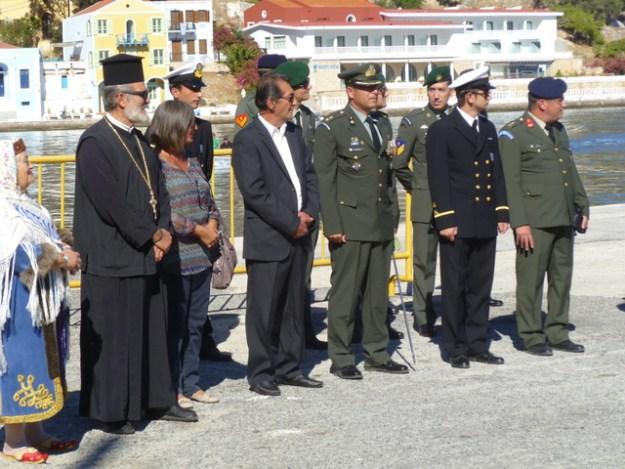 Civic leaders assembled for Ochi Day celebration  (Kastellorizo)