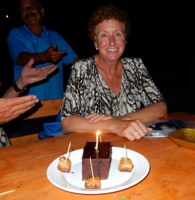 Laura and her birthday cake at Amigos Restuarant, Twenty-two Fathoms Cove, Göcek