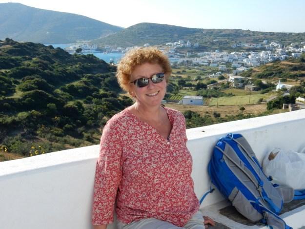 Laura overlooking Lipsi town