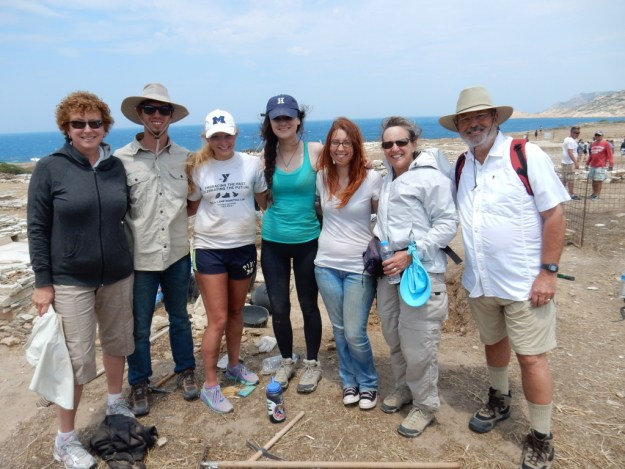 Cathy, Brock, and Laura pose with American students working at the Temple to Apollo dig on Despotiko Island