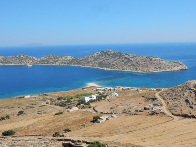 Kalotyri Bay (Amorgos) with Nikouria Island in the background.  You can see Sabbatical III at anchor if you look closely.