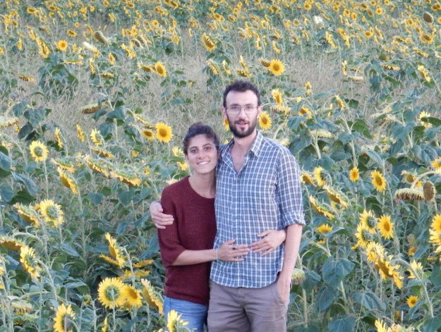 Ben and Irene in a field of sunflowers