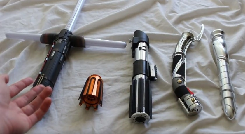 a selection of Sith lightsabers
